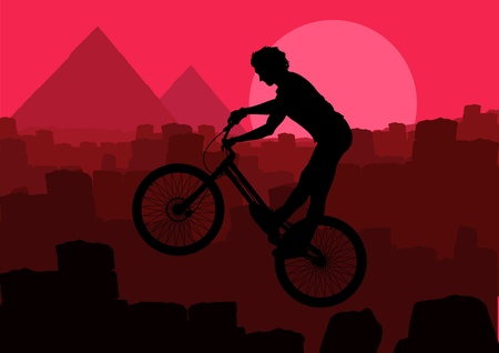 egypt pyramid: Animated mountain bike trial rider in Egypt pyramid ruin landscape illustration