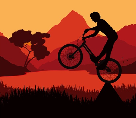Animated mountain bike trial rider in wild nature landscape illustration Stock Vector - 10488202