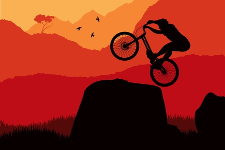 trial: Animated mountain bike trial rider in wild nature landscape illustration
