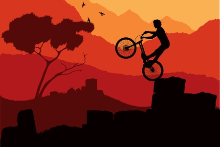 Animated mountain bike trial rider in wild nature landscape illustration Stock Vector - 10488171