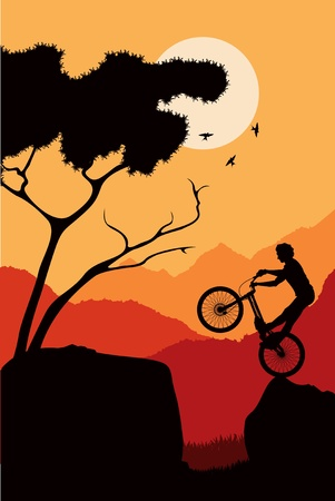Animated mountain bike trial rider in wild nature landscape illustration Vector