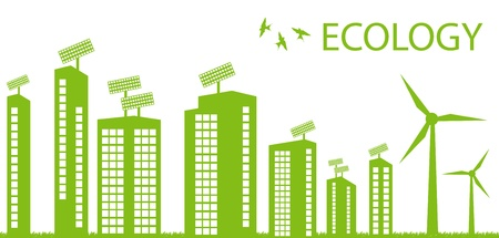 eco building: Green Eco city ecology vector background concept Illustration
