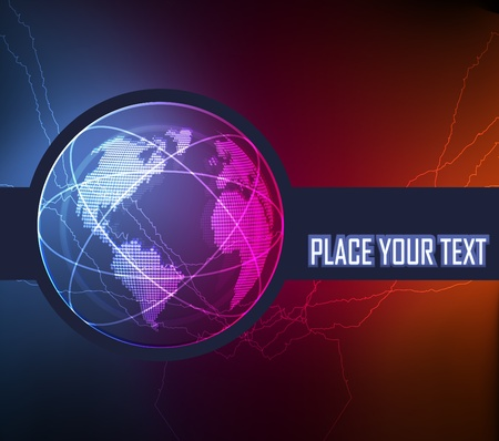 Neon globe vector background Vector