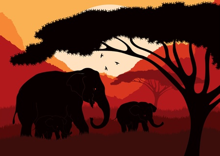 kenya: Cute elephant family in wild africa landscape illustration