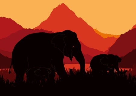 acacia: Cute elephant family in wild africa landscape illustration
