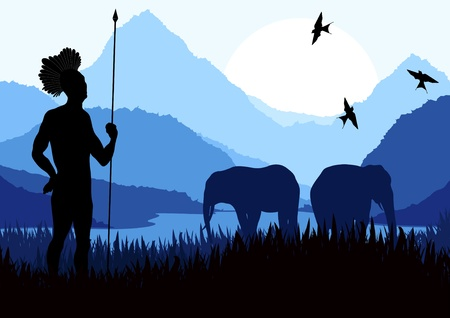 Animated elephant family and native hunter in wild nature landscape illustration Vector