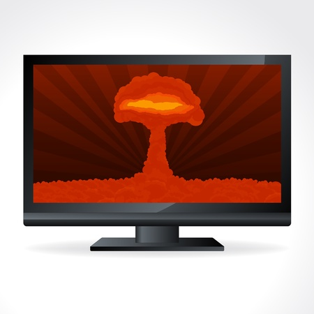 atomic explosion: Atomic explosion cloud formed mushroom in television screen Illustration