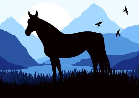 saddle: Animated horse in wild nature landscape illustration Illustration
