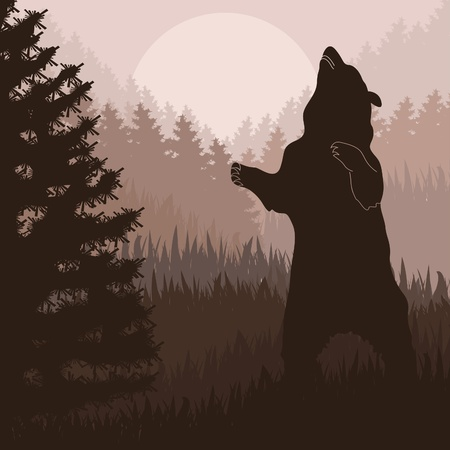 Animated brown bear in wild forest foliage illustration Vector