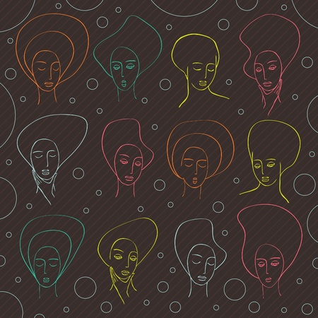 Hand drawn vintage woman faces on abstract bubble background Vector