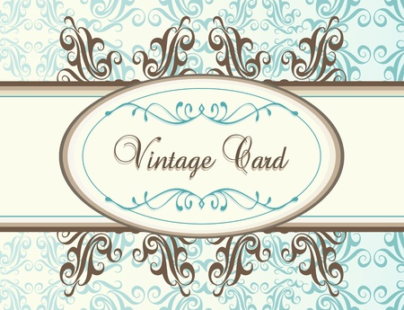 wedding reception decoration: Vintage blue background card or book cover Illustration