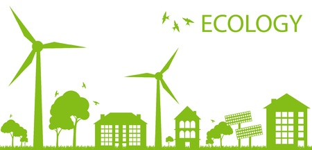 energy conservation: Green Eco city ecology background concept Illustration