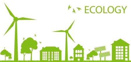 windmolen: Green Eco stad ecologie achtergrond concept