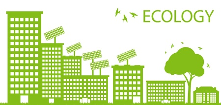 green building: Green Eco city ecology background concept Illustration