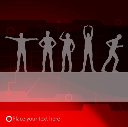 Animated women gymnastic exercises background illustration Vector