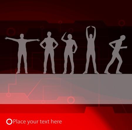animated women: Animated women gymnastic exercises background illustration Illustration