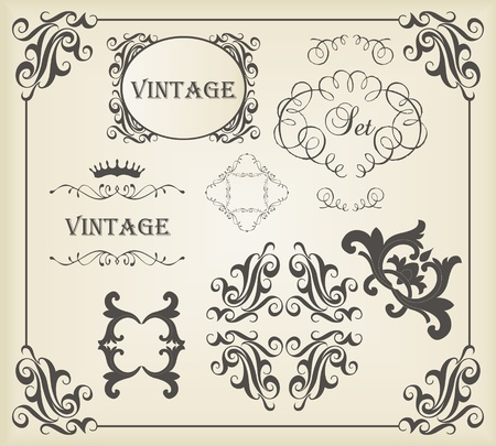 Vintage calligraphic elements and ornaments set
