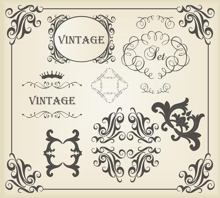 cartoline vittoriane: Vintage elementi calligrafici e gli ornamenti di cui Vettoriali
