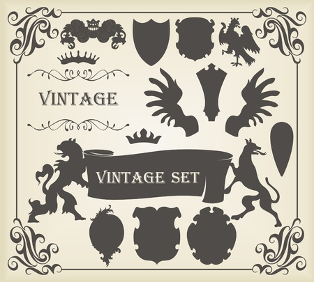 winged lion: Elementos del escudo Vintage