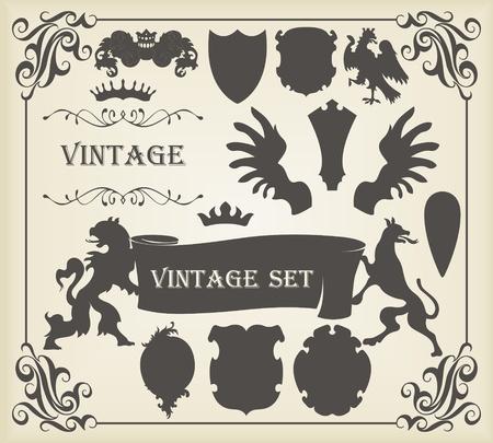 гребень: Vintage герб элементов Иллюстрация