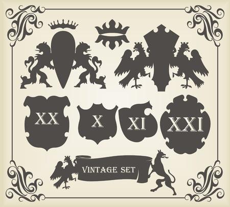 nobel: Elementos del escudo Vintage