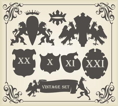Vintage coat of arms elements