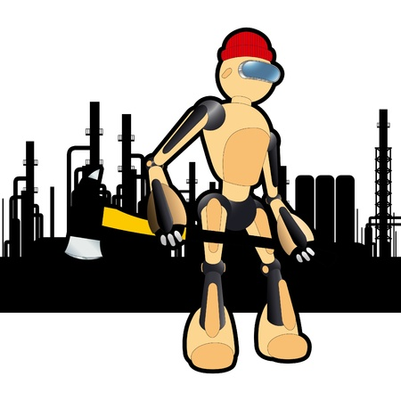 Animated construction site woodcutter robot Stock Vector - 10493171