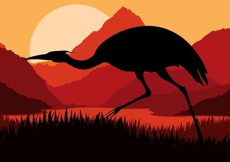 mating: Animated crane in wild nature landscape illustration