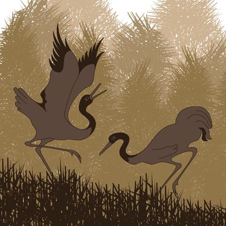 Animated cranes in wild forest landscape illustration Stock Vector - 10492664
