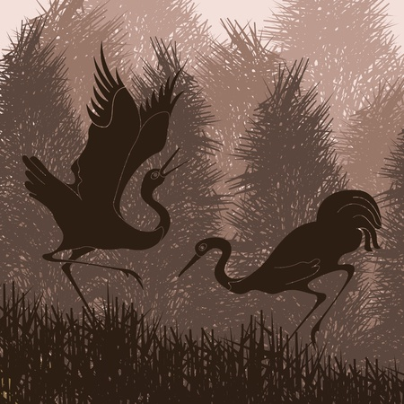mating: Animated cranes in wild forest landscape illustration