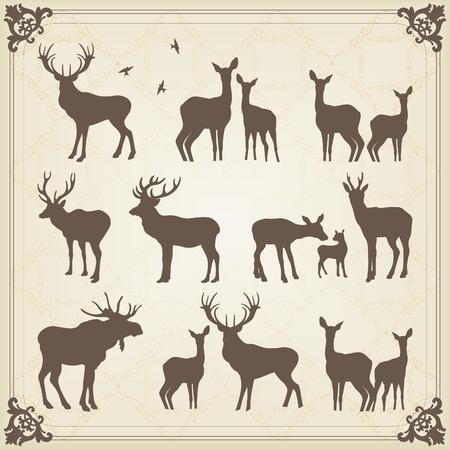 bosbrand: Vintage collectie van herten en elanden illustratie Stock Illustratie