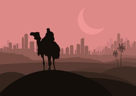 arab spring: Camel rider in arabic skyscraper city landscape illustration