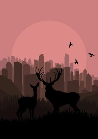 smog: Skyscraper city landscape concept illustration Illustration