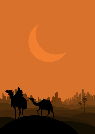 Camel caravan in arabic skyscraper city landscape illustration