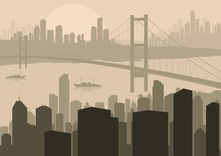 Skyscraper city landscape illustration Vector