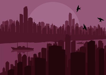 Skyscraper city landscape illustration Stock Vector - 10492603