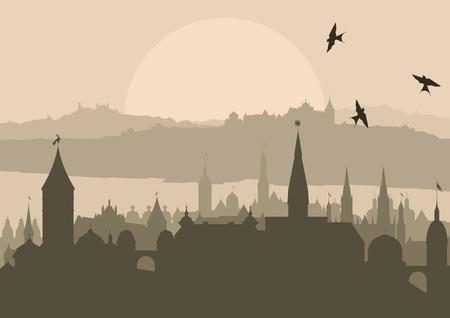 dracula castle: Vintage Europe city landscape illustration Illustration