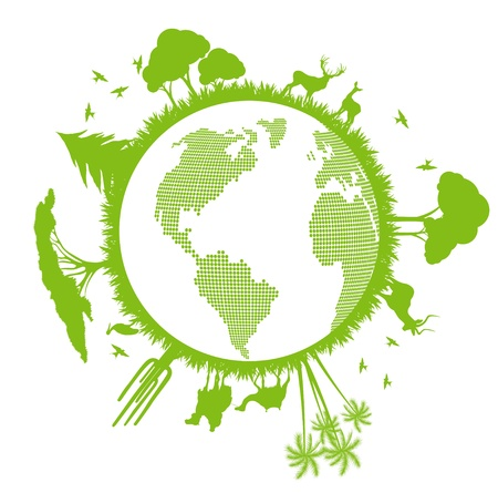Green ecology planet vector background with trees around globe Vector