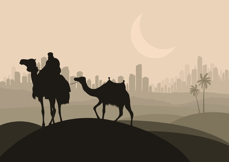 arabic desert: Camel caravan in arabic skyscraper city landscape illustration