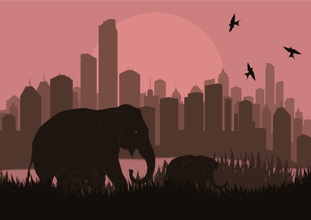 Elephant family in skyscraper city landscape illustration Stock Vector - 10492623