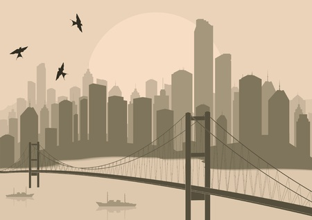 Skyscraper city landscape illustration Vector
