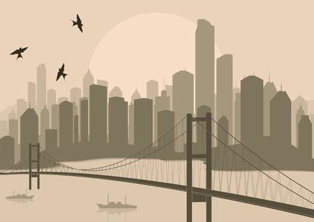 new york street: Skyscraper city landscape illustration