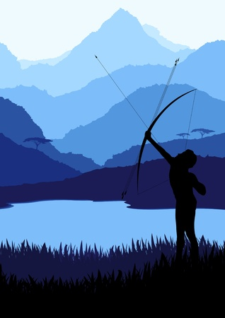 morning rituals: Native african bow hunter in wild nature landscape illustration