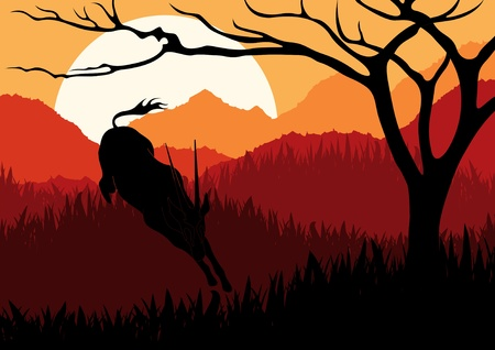 gazelle: Animated gazelle running in wild nature landscape illustration