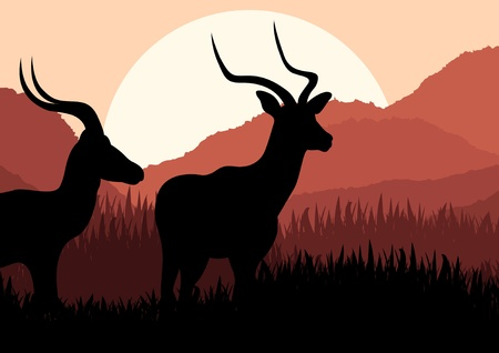 Animated gazelle couple in wild nature landscape illustration Vector