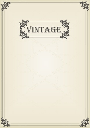 border line: Vintage vector decorative frame for book cover or card background Illustration