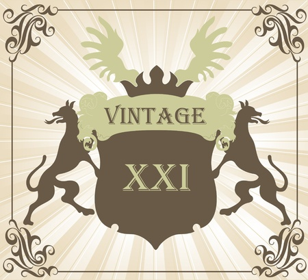 Coat of arms vintage vector background with dogs and wings Vector