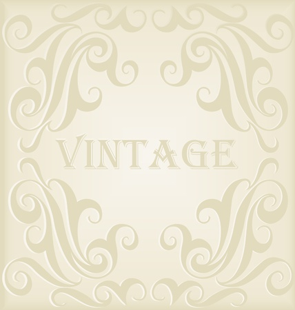 line drawings: Vintage vector decorative frame for book cover or card background Illustration