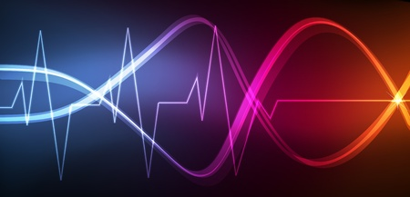 medical technology: Cute glowing medical heart beat neon lights background illustration