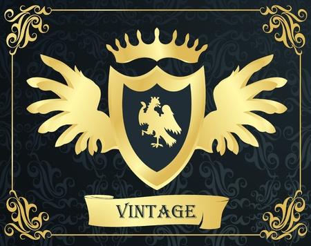 escudo de armas: Fondo de vector de escudo en marco de oro Vectores